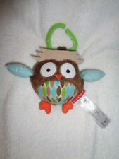 """Owl Rattle Chime Ball 2010 colorful 4"""" plush round Skip Hop baby clip-on toy"""