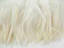 "100+ NATURAL WHITE SADDLE ROOSTER CRAFT HAIR FEATHER 5""-7""L"