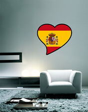 "Spain black Flag Heart Wall Decal Large Vinyl Sticker 25"" x 22"""
