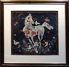 Tie Feng Jiang LITTLE HORSE II on black paper Hand Signed w/custom frame