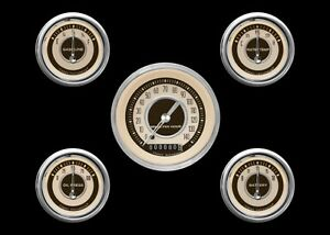 Classic Instruments Nostalgia VT Series 5 Gauge Set NT00SHC-Metric Speedo KPH