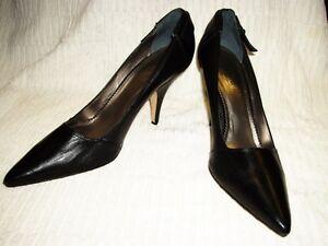 "Nicole Miller Black Leather Classic Pumps Heels~Made in Brazil 10B 3 3/4"" Heel"