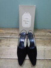 Vintage Souliers Christian Dior Sling Back Pointed Toe Suede Heels - Size 7 6C