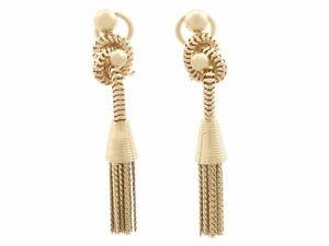 Vintage 1950s 18 ct Yellow Gold Tassel Drop Earrings
