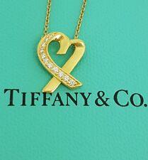 Tiffany & Co 18ct 18k Gold Diamond Loving Heart Necklace Paloma Picasso