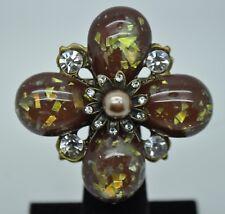 VINTAGE FLOWER SHAPE BROWN PEARLS BALL / CLEAR STONE FASHION BROOCH /PIN YD20