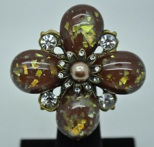 VINTAGE FLOWER SHAPE BROWN PEARLS BALL / CLEAR STONE FASHION BROOCH /PIN 2