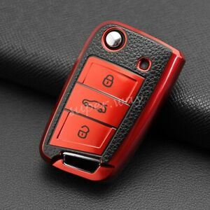 Red Leather Texture Flip Key Case Cover For VW Golf 7 Polo 6 Tiguan Skoda SEAT