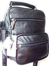 Leather multi compartment Black travel flight holiday Messenger Bag organiser 46