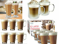 NEW LATTE GLASSES 240-350ML DOUBLE WALLED PRINTED DESIGN TEA COFFE HOT DRINK MUG