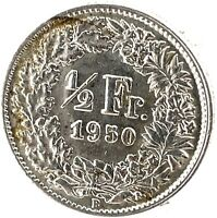 Switzerland 1/2 Franc 1950 B  Silver Coin KM#23.
