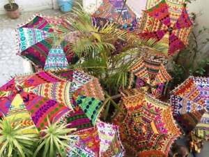 10 Pc Lot Decorative Indian Umbrella Hand Embroidered Vintage Sun Shade Parasol