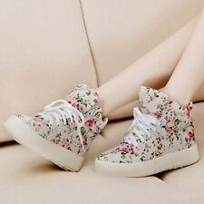 Womens Casual Floral Canvas Shoes Flat Athletic Sport Plimsolls Lace Up Sneakers