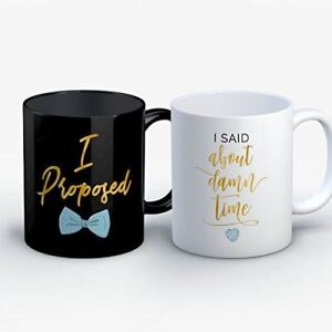 Engagement Coffee Mug - Proposed About Damn Time Engagement Funny 11 oz Black Wh