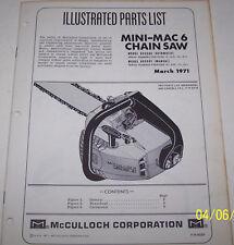 McCULLOCH CHAIN SAW MINI-MAC 6 ORIGINAL OEM ILLUSTRATED PARTS LIST