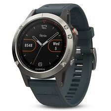 Garmin Fenix 5 Silver w/ Granite  Blue Band GPS/Glonass Sport Watch 010-01688-01