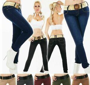 Women's Skinny Slim Jeans mid waist Cotton Stretch Trousers UK Sizes 6-14
