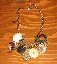 Natural Seashell Wood & Glass Pendant Brass Chain Layer Necklace Beach Jewelry