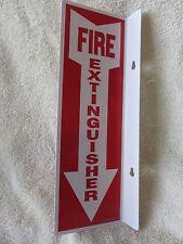"(1-Sign) 4"" X 12 Rigid Plastic 90* Angle ""Fire Extinguisher Arrow"" Sign.New"