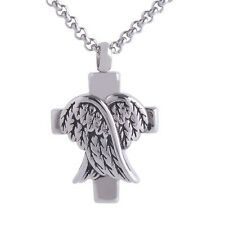 "Cross Angel Wings Cremation Urn Keepsake Memorial Ash Pendant 20"" Necklace"