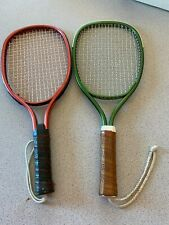 Pair of Racquetball Racquets metallic red / green