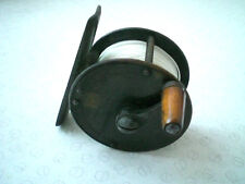 """A RARE VINTAGE VICTORIAN HEARDER OF PLYMOUTH 2"""" BRASS CRANK WIND FLY REEL"""