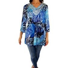 TRAVELSMITH M* L Fit blue tropical leaf print embroidered tunic peasant top