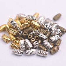 50Pcs Tibetan Silver Oval Charm Spacer Beads Jewelry Findings F3151