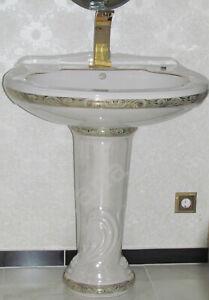Waschbecken mit Standsäule und Dekoration 1Loch Ausführung 74 cm Breit UNIKAT