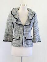 White House Black Market Tweed Ruffle Lapel Frayed Trim Blazer Jacket Size 4