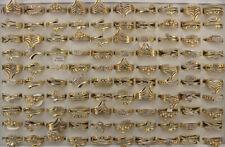 Wholesale Lots 40pcs Mixed Rhinestone Cute Gold Plated Women Lady's Fashion Ring