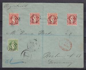 BRITISH VIRGIN ISLANDS 1900, SG 43, 44 (4) ON REGISTERED LETTER TO GERMANY