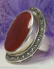 """Vintage 1 3/8"""" CARNELIAN and MARCASITE Sterling Silver .925 COCKTAIL RING size 7"""