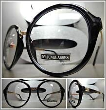 CLASSIC VINTAGE RETRO Style Clear Lens EYE GLASSES Round Black & Rose Gold Frame