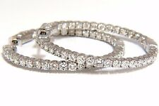 $6500 2.72CT NATURAL DIAMONDS INSIDE OUT HOOP EARRINGS 14KT BUTTON PRESS 1.4INCH