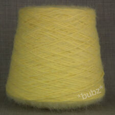 SUPER SOFT BRUSHED YARN LEMON YELLOW DOUBLE KNITTING 500g CONE MOHAIR FEEL DK