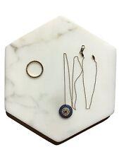 Hexagon 6 inch Italian Calacatta Gold Flat tray, Key tray, Jewelry tray