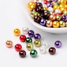 Luster Pearlized Glass Pearl Beads Mixed Color 6mm Hole 1mm 200pcs/bag Crafting