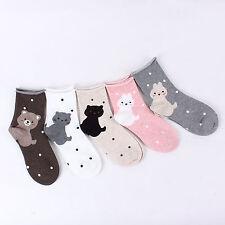 (5 Pairs) Animal Rolling Socks Cute Casual Shoes Cat Puppy Bear Rabbit OJ 15