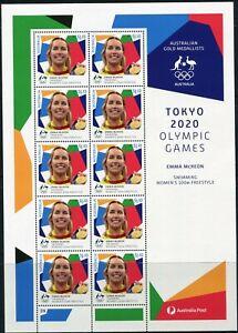 2021 Australia Tokyo Olympic Gold Medal Swimming Women's 100m Sheetlet Of 9 MNH