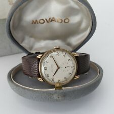 Vintage Movado Fancy Stepped Lug Gold Filled Watch Serviced w/ Original Boxes