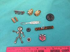 Vintage Lot of Military Pins Buttons Oak Leaf Collar Naval Reserve Anchor