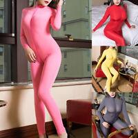 Sexy Women Wet Look Jumpsuit Bodycon Bodysuit Zipper Playsuit Clubwear Lingerie