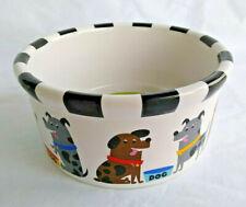 "New listing Pooch Dog Bowl Dish 6"" Signature 2007 Stoneware Ceramic Brown Dogs"