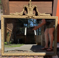 "Vintage Large Ornate Wood Framed Mirror 28"" W X 27"" T"