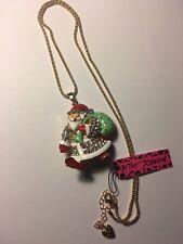 Betsey Johnson crystal Santa Claus W- GREEN SANTA BAG necklace-BJ6522