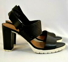 Women's CLARKS Black Leather Strappy Sandals w/Heels 9M