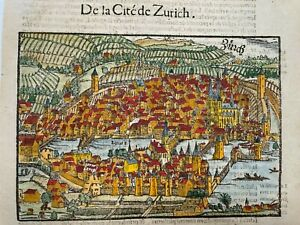 ZURICH SWISS 1552 SEBASTIAN MUNSTER ANTIQUE ENGRAVED VIEW 16TH CENTURY
