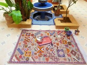 Antique Rug Moroccan rug Berber Rug Beni ourain wool rug 62' X 47' inches