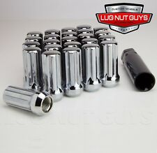 "24 Lug Nuts 14x1.5 Chrome Spline Acorn 2"" Long Tall Chevy SIlverado"